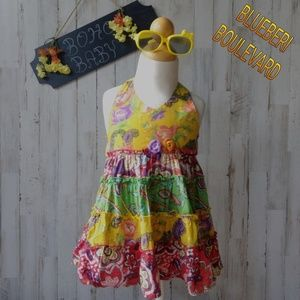 🏵️Boho Baby🏵️ Colorful halter dress with flowers